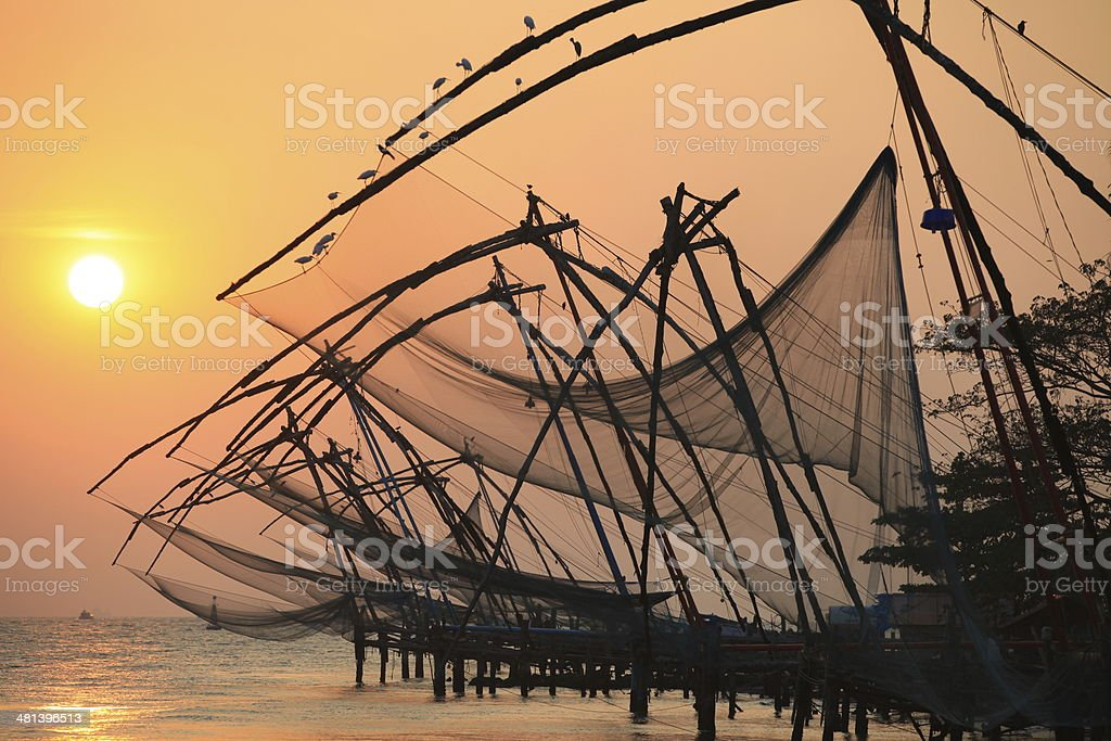 Chinese fishing nets, Cochin stock photo