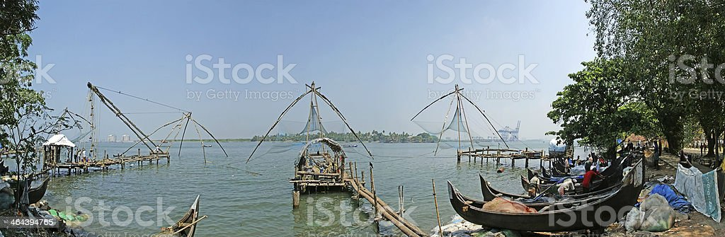 Chinese fishing nets, Cochin, South India stock photo