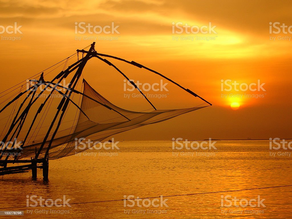 Chinese Fishing Nets, Fort Cochin stock photo