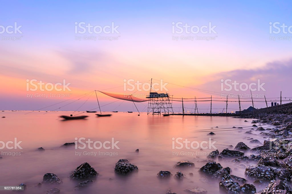 Chinese Fishing Nets In Sea stock photo