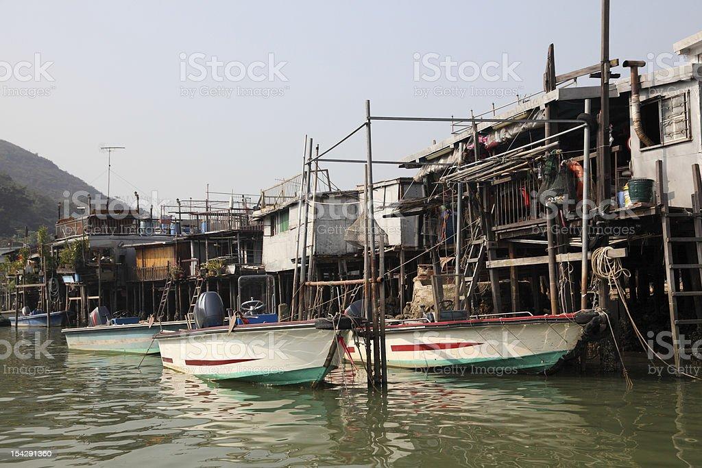 Chinese fishing village stock photo