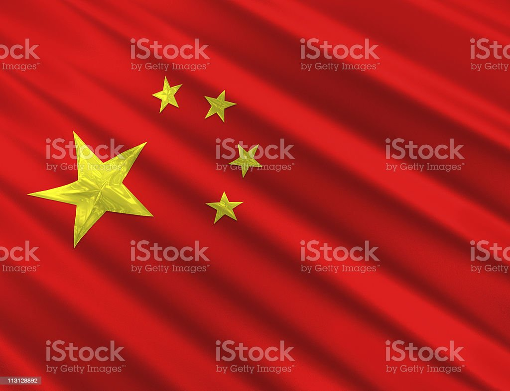 Chinese Flag 3D Stars royalty-free stock photo