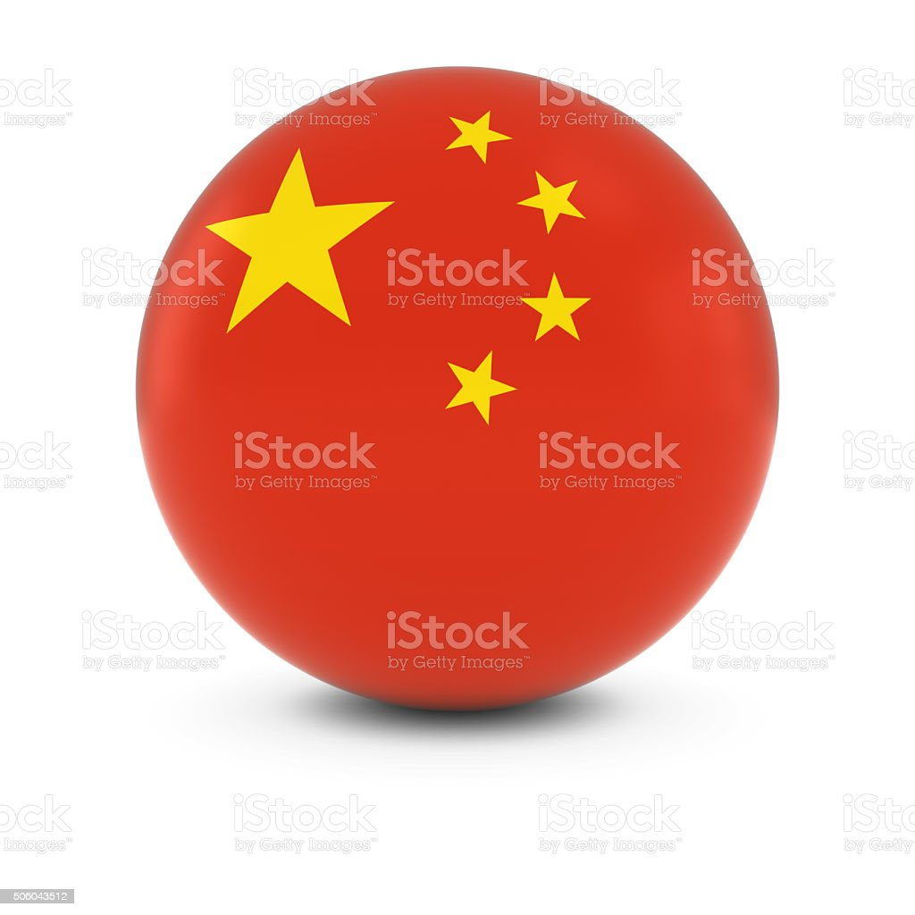 Chinese Flag Ball - Flag of China on Isolated Sphere stock photo