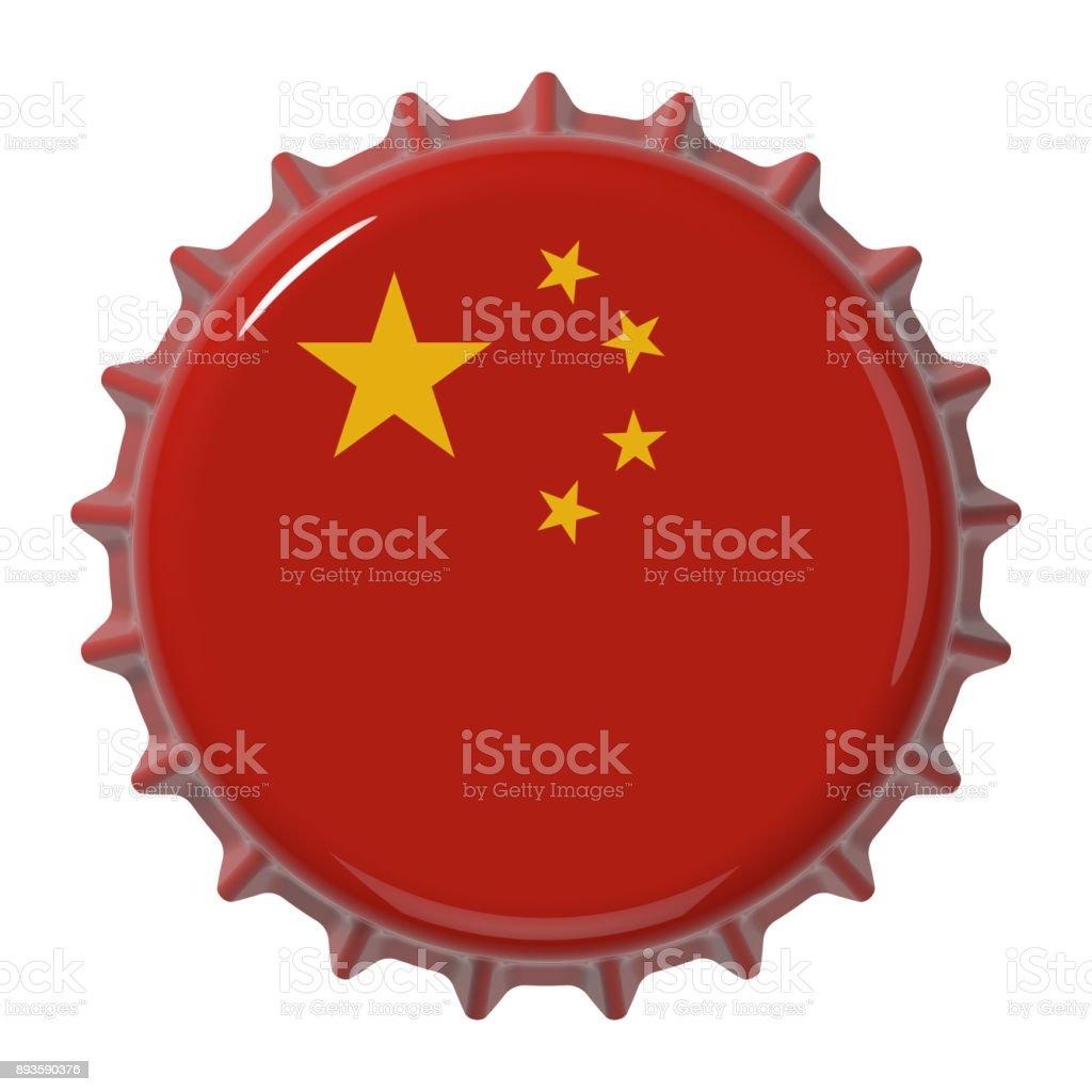 Chinese flag on bottle cap. 3D rendering stock photo