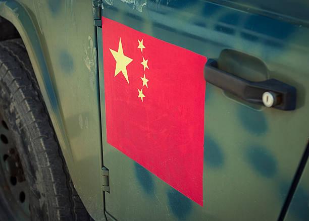 chinese flag on camouflaged vehicle - chinese military bildbanksfoton och bilder