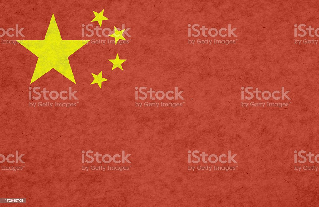 Chinese flag on mottled paper royalty-free stock photo
