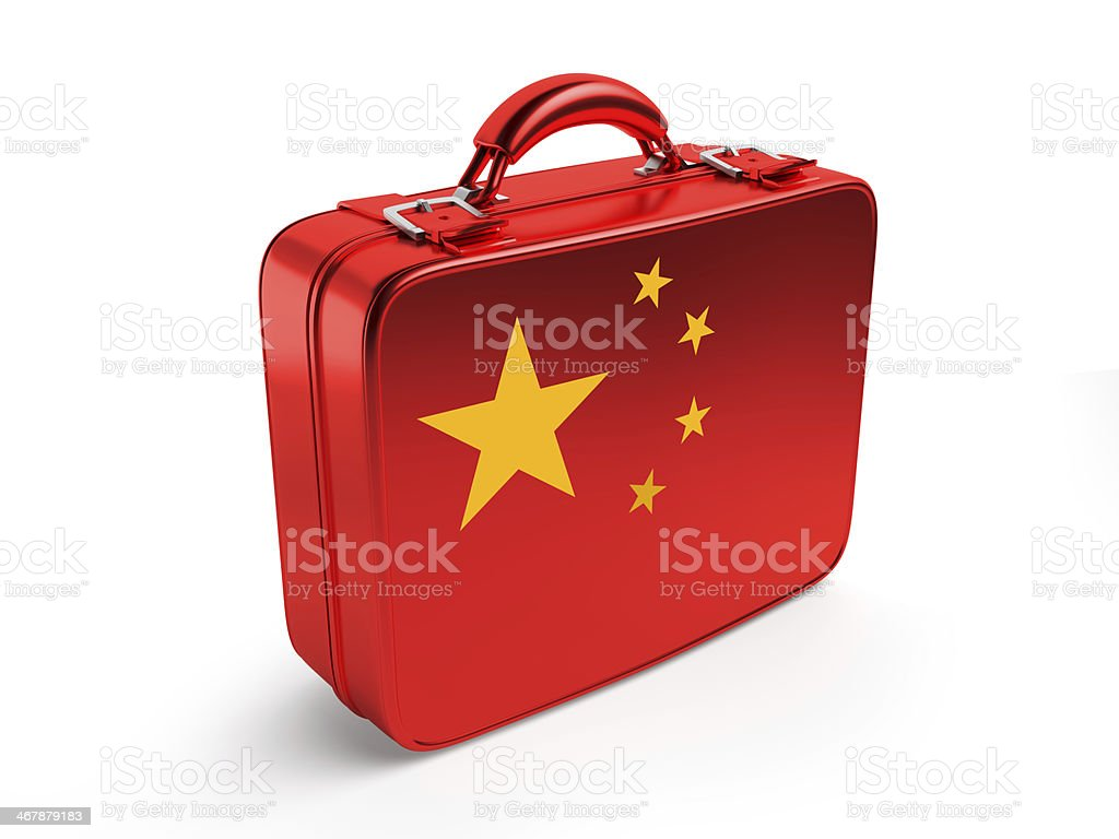 Chinese flag on suitcase royalty-free stock photo