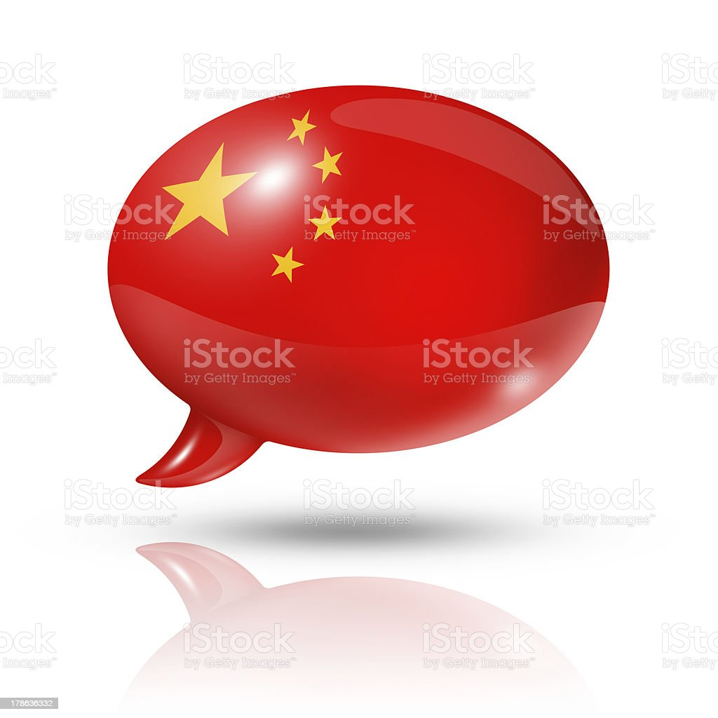 Chinese flag speech bubble royalty-free stock photo