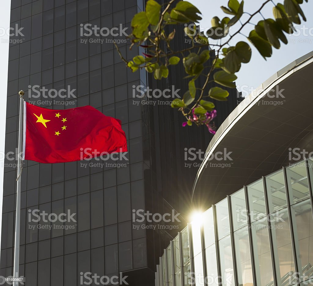 Chinese Flag with Modern Buildings royalty-free stock photo