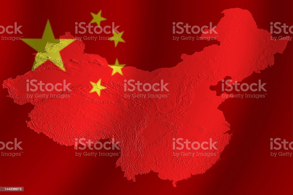 Chinese flag with topography royalty-free stock photo