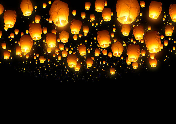 chinese fly lanterns - rislampa bildbanksfoton och bilder