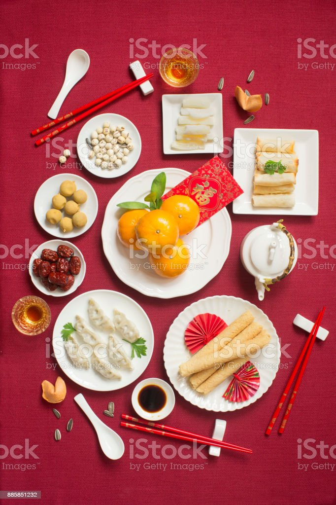 Chinese food and drink still life. stock photo