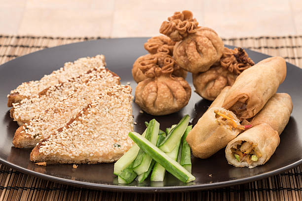chinese food appetiser selection - appetiser stock photos and pictures