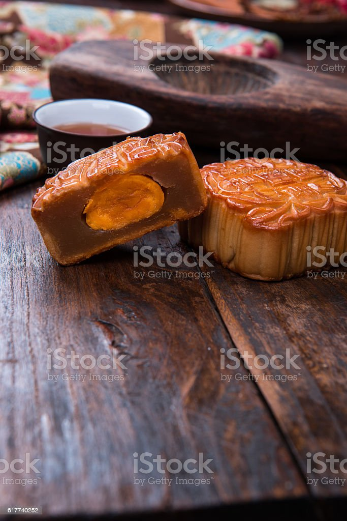 Chinese Food background, moon cake. stock photo