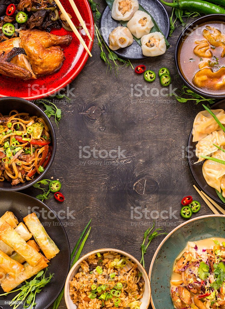 Chinese food background stock photo