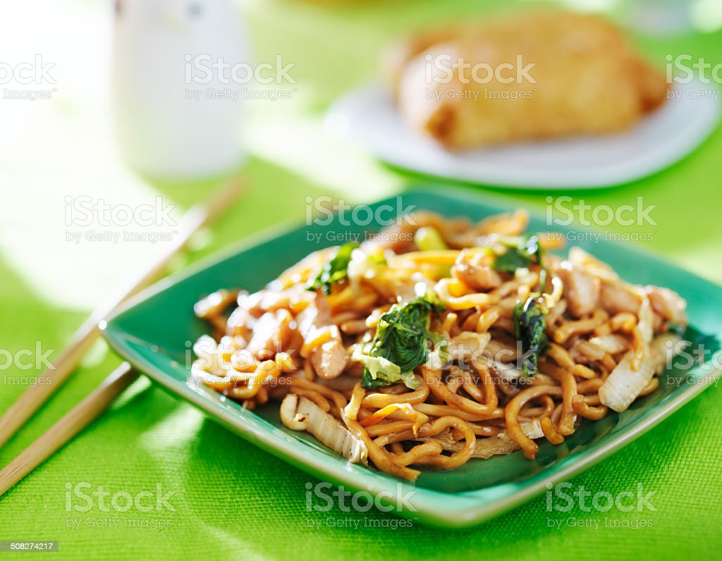 chinese food - chicken lo mein stock photo