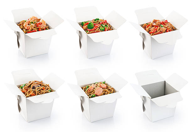 Chinese food collection isolated on white background. Chinese food collection isolated on white background. Opened take out box. chinese takeout stock pictures, royalty-free photos & images
