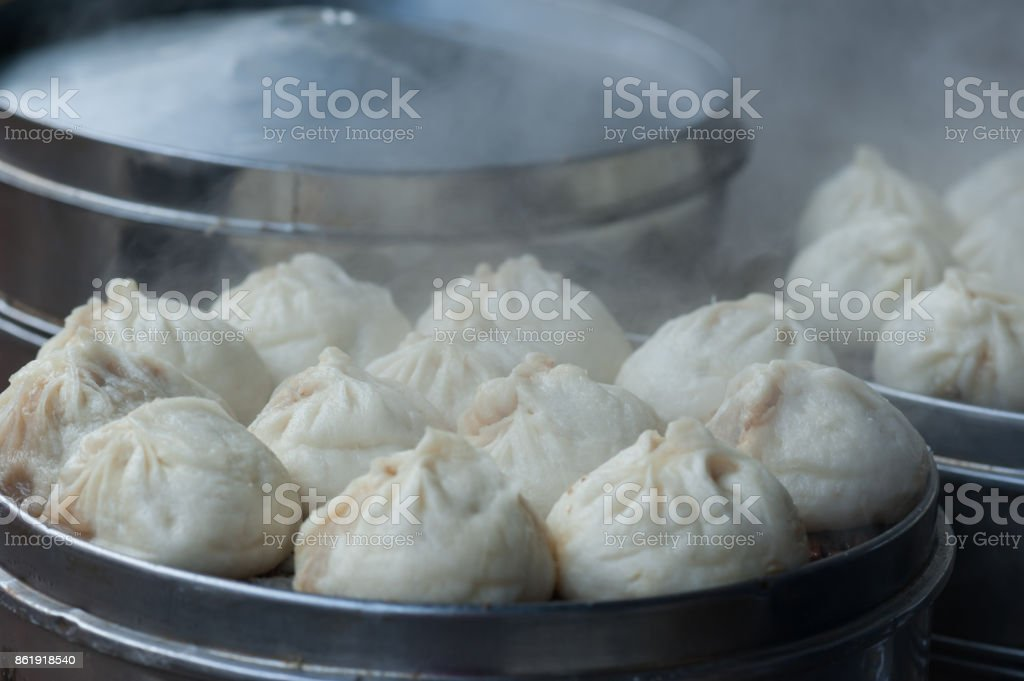 Chinese food,  common breakfast steamed bun stock photo