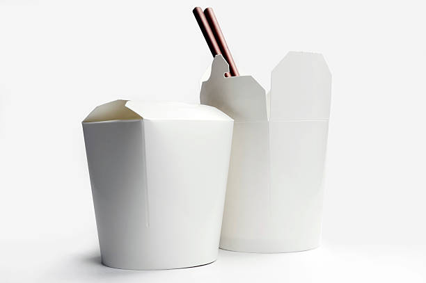Chinese Food Container Blank Chinese food container and chopsticks chinese takeout stock pictures, royalty-free photos & images