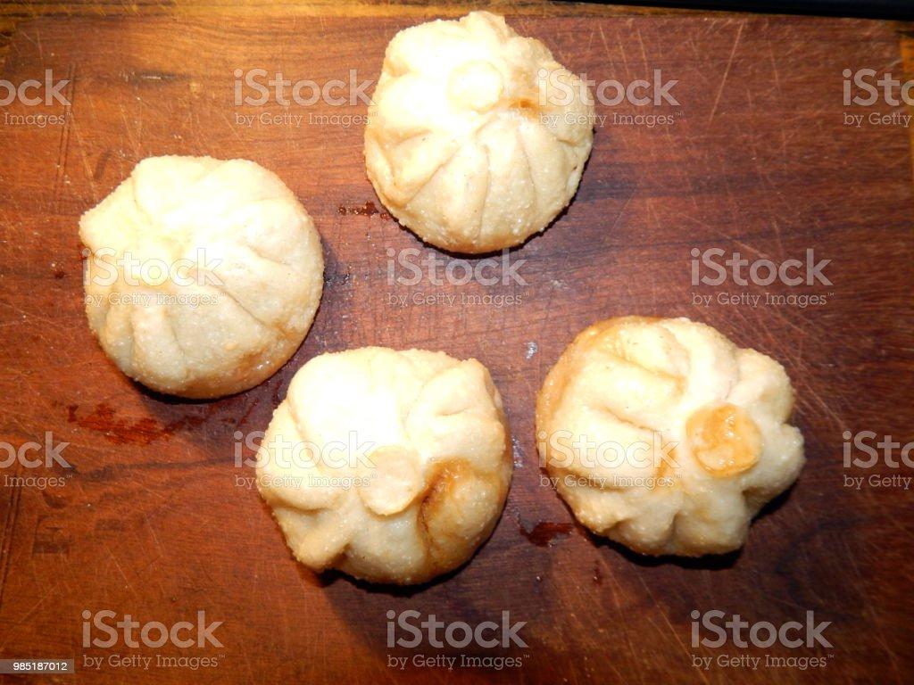 Chinese food dumplings cooking bao stock photo