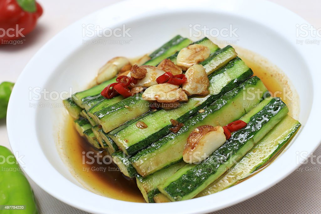 Chinese food: Fried cucumber stock photo
