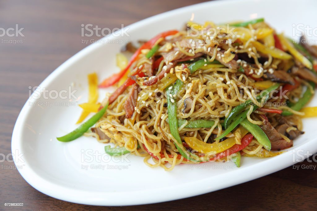 Chinese food fried noodle with ham stock photo