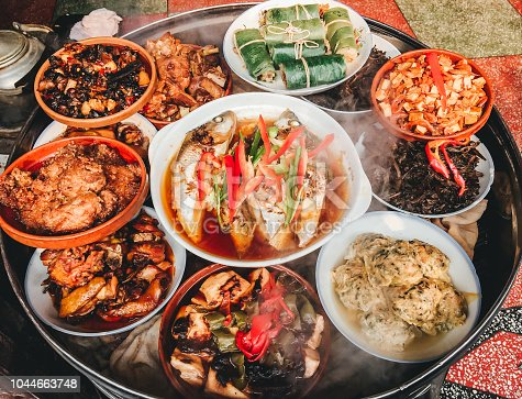 Chinese food in street of ancient town in China