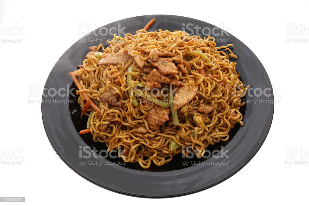 Chinese food. Noodles with chicken pork and veal stock photo