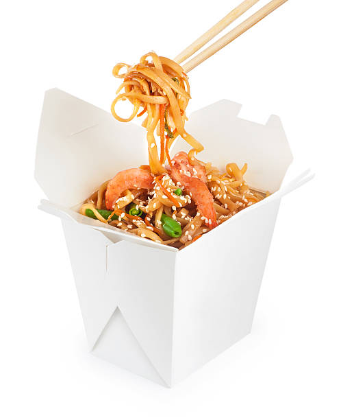 Chinese food. Noodles with shrimp isolated on white background. Chinese food. Noodles with shrimp isolated on white background. Opened take out box. chinese takeout stock pictures, royalty-free photos & images