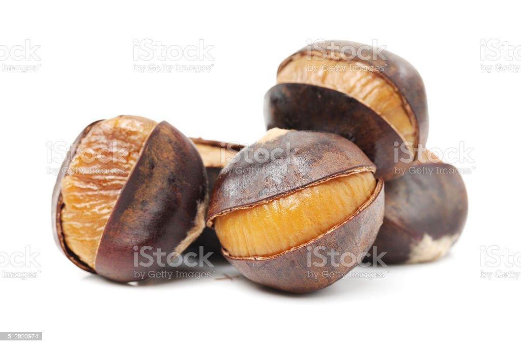 chinese food, peeled roasted chestnut stock photo