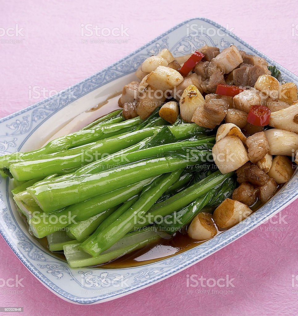 Chinese food series:stir-fried diced pork with asparagus royalty-free stock photo