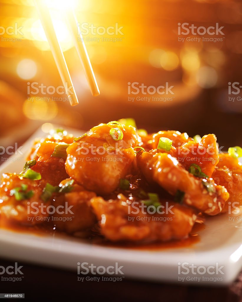 chinese food -sesame chicken stock photo