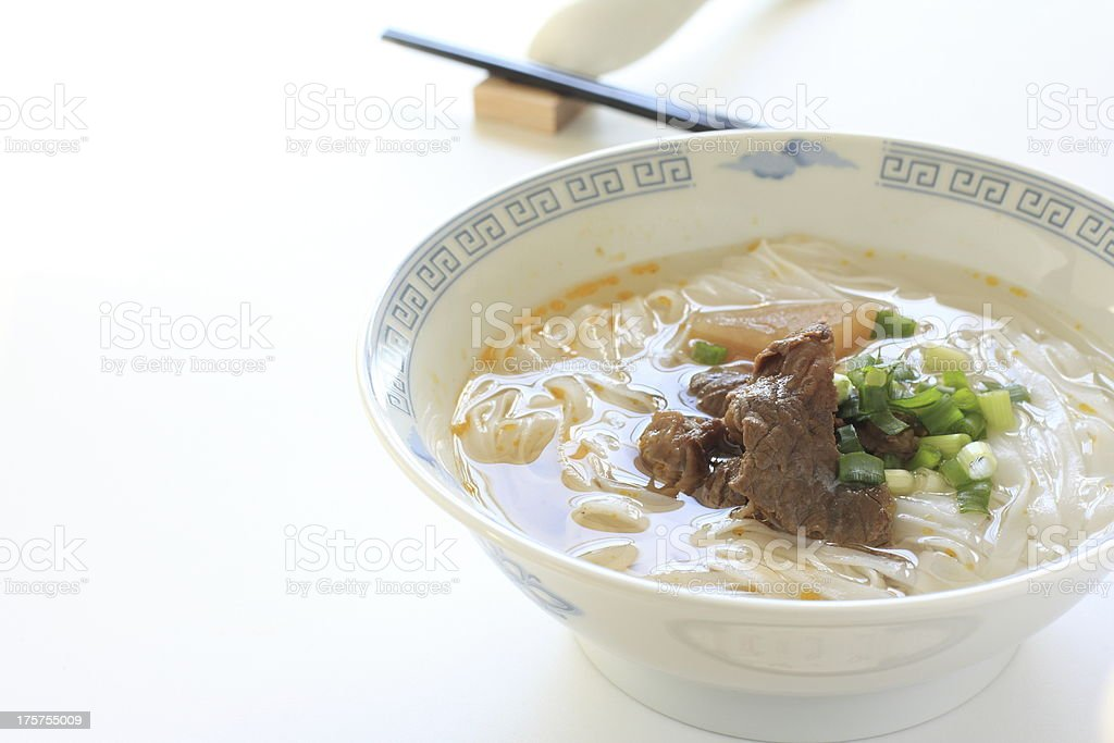 Chinese food, simmered beef on rice noodles royalty-free stock photo