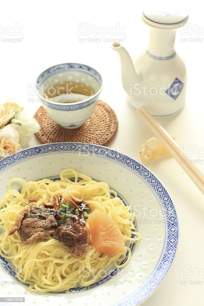 chinese food, simmered beef tendon on noodle royalty-free stock photo