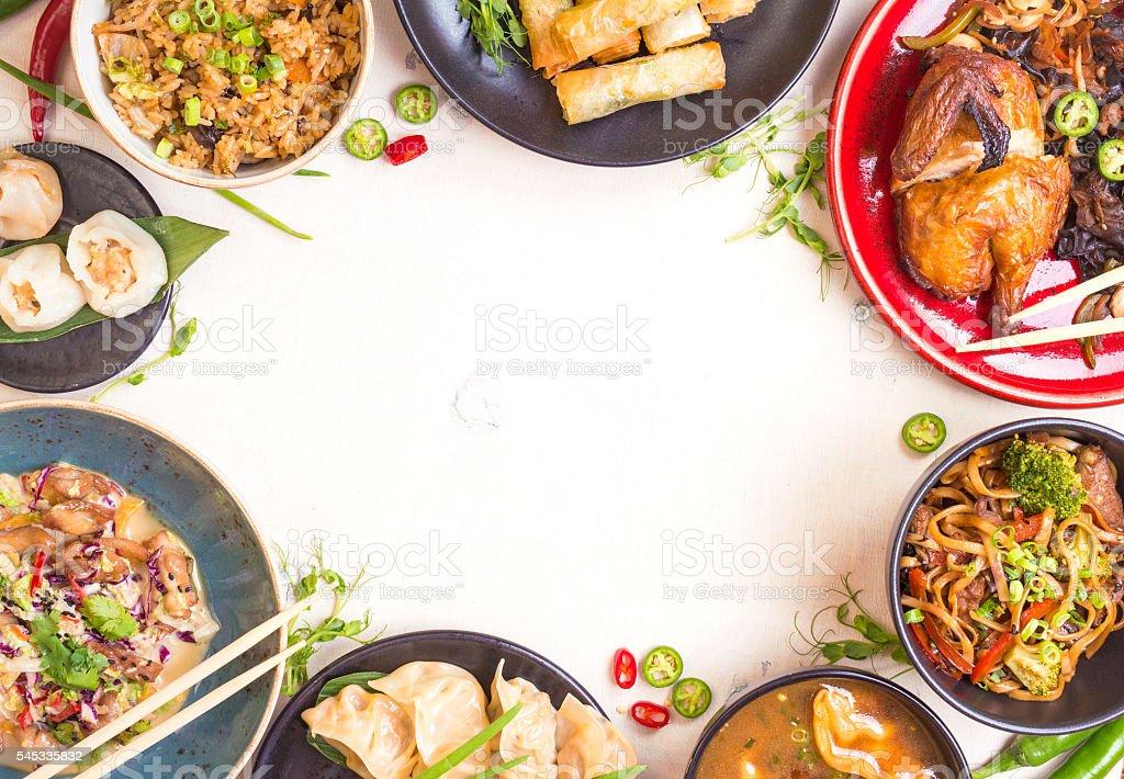 Chinese food white background stock photo