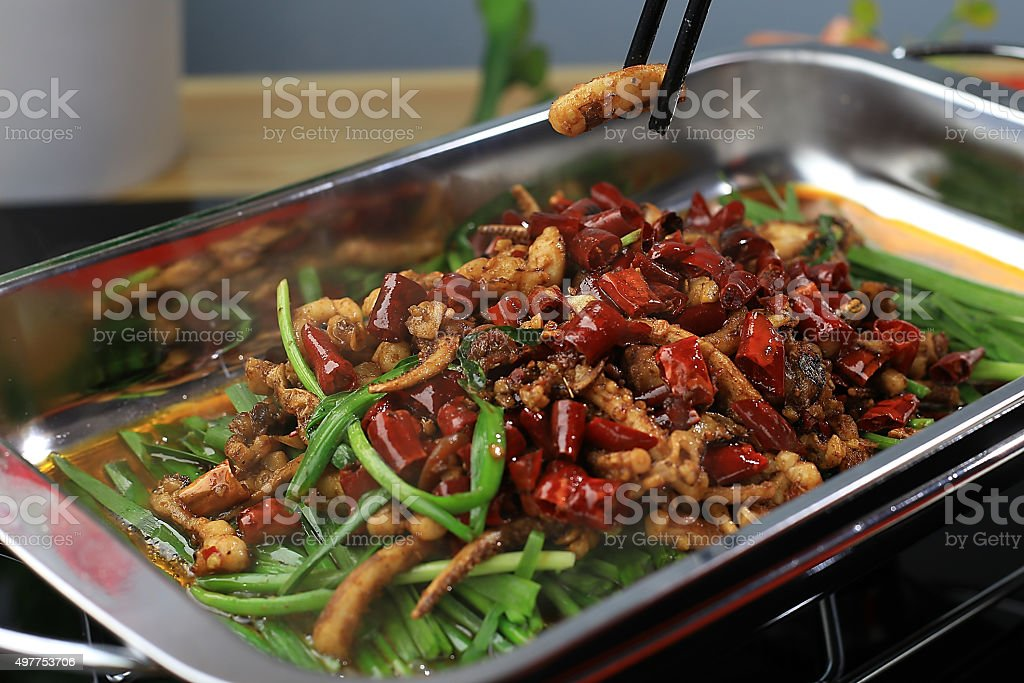 Chinese food:Chives and squid stock photo