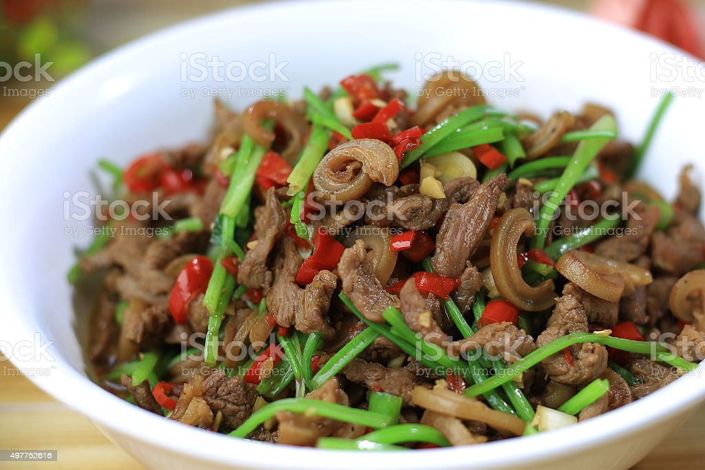 Chinese food:Fried mutton stock photo