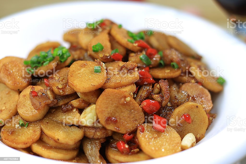 Chinese food:Fried potatoes with meat stock photo