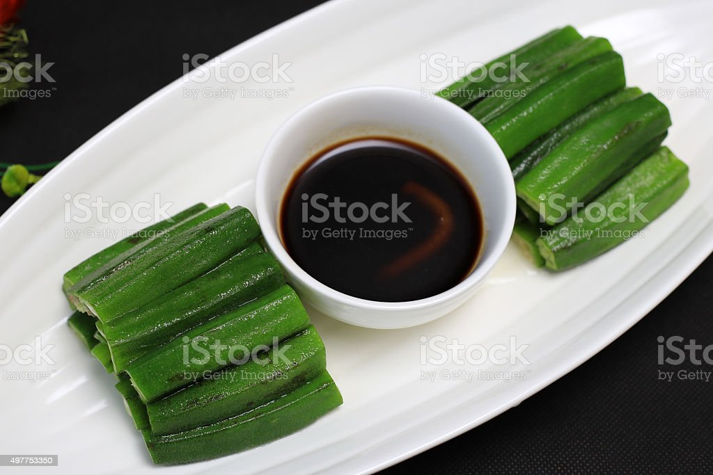 Chinese food:Iced Okra stock photo