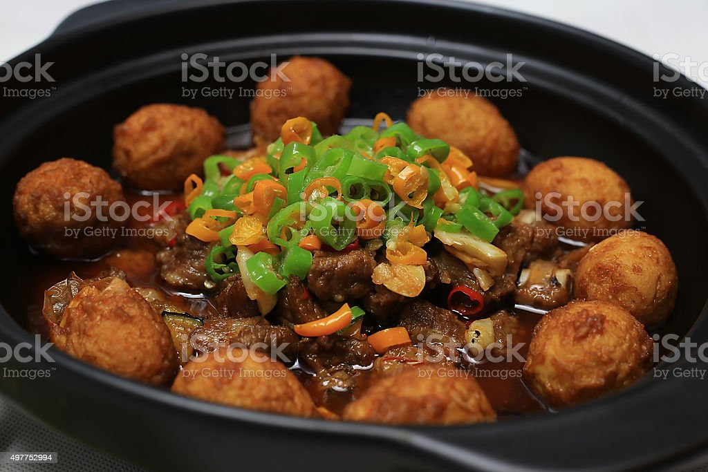 Chinese food:Pork Chop braised egg stock photo