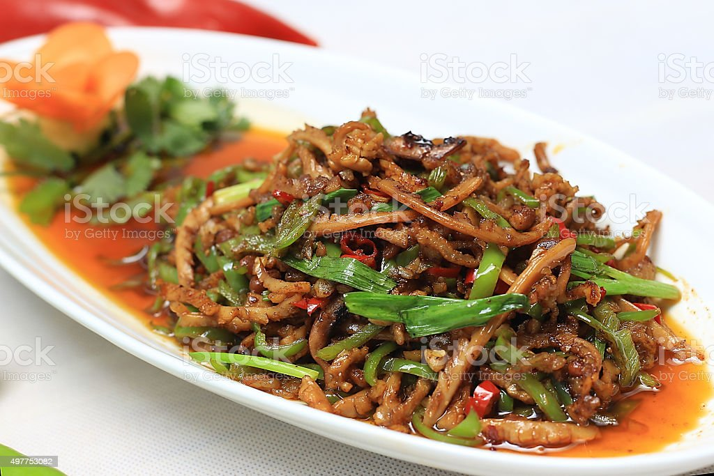Chinese food:Stir fried squid stock photo