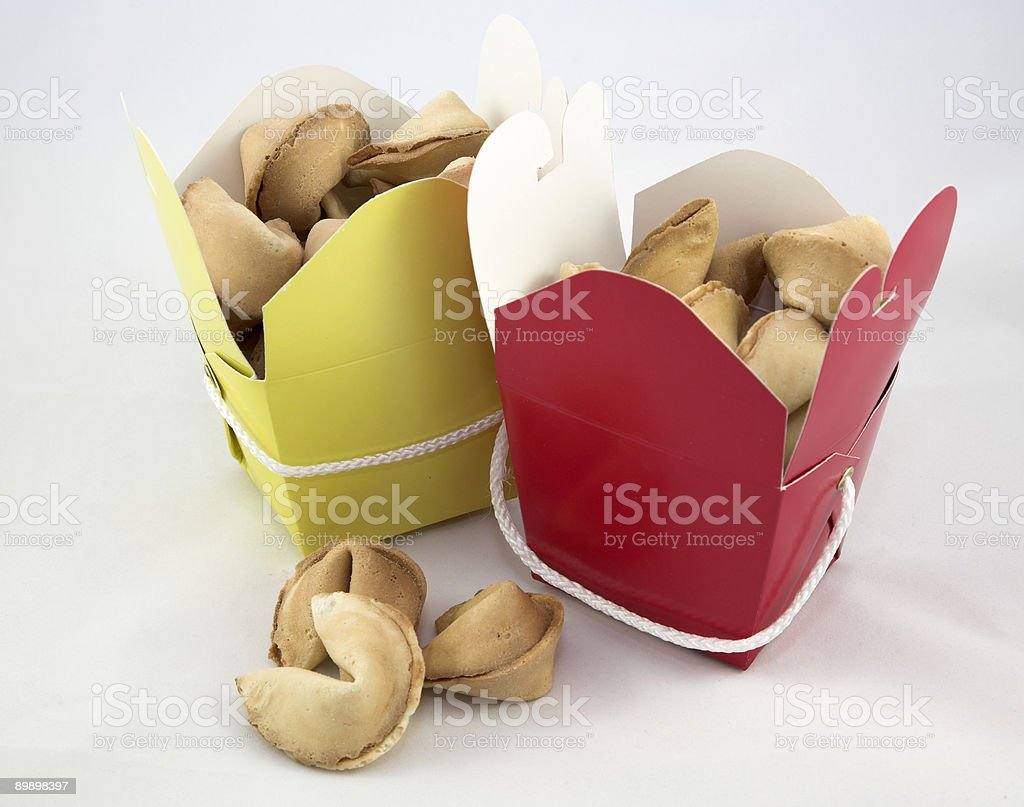 Chinese Fortune Cookes in Yellow and Red Take Out Boxes royalty-free stock photo