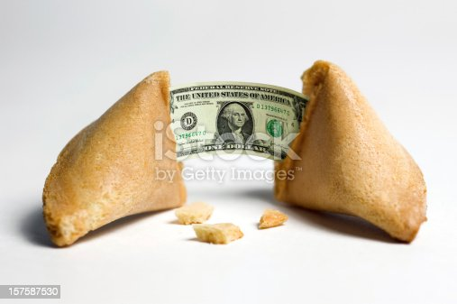 Traditional fortune cookies with a financial incentive fortune.