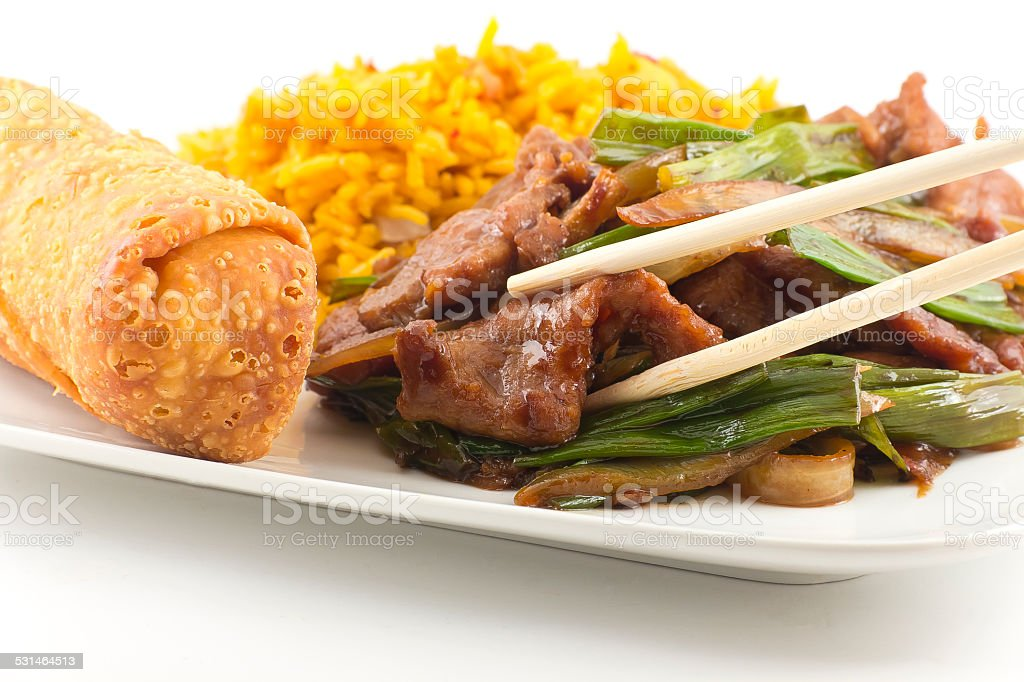 Chinese Fried beef with Scallion stock photo