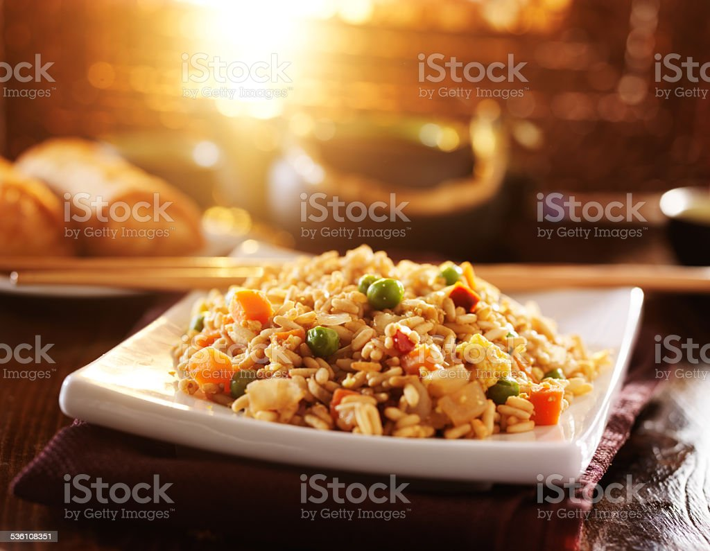 chinese fried rice on plate stock photo