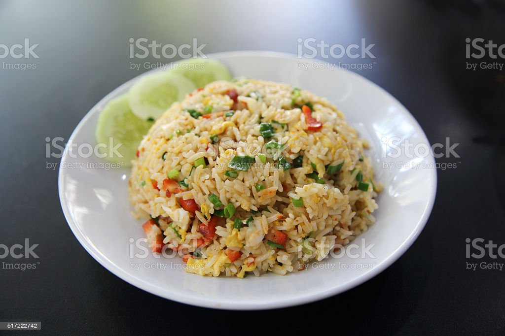 Chinese fried rice with pork stock photo