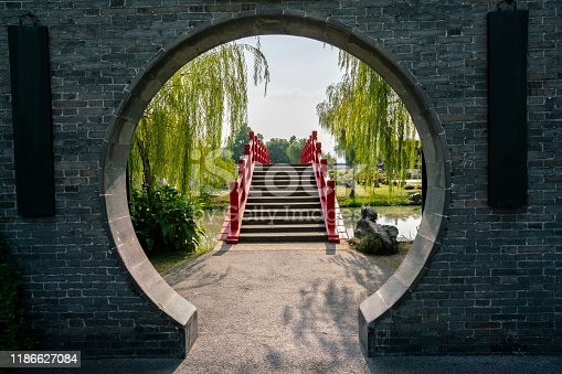 Chinese garden: arch gateway to bridge, photographed in a free public park named Xiyuan,  Yangzhou city, China.