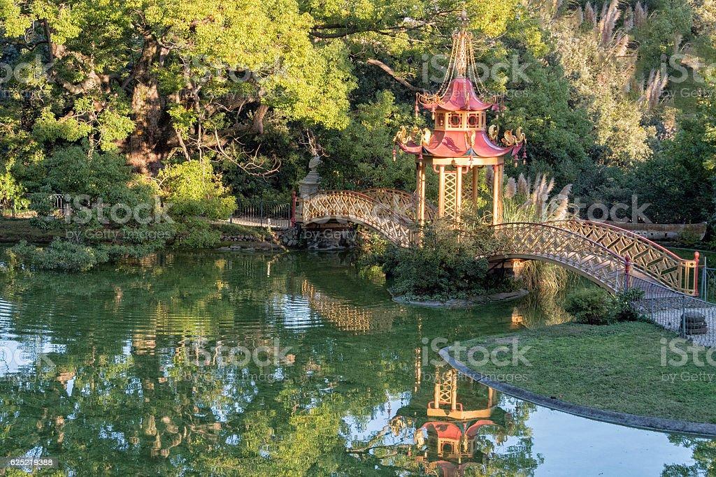 chinese garden bridge detail view stock photo