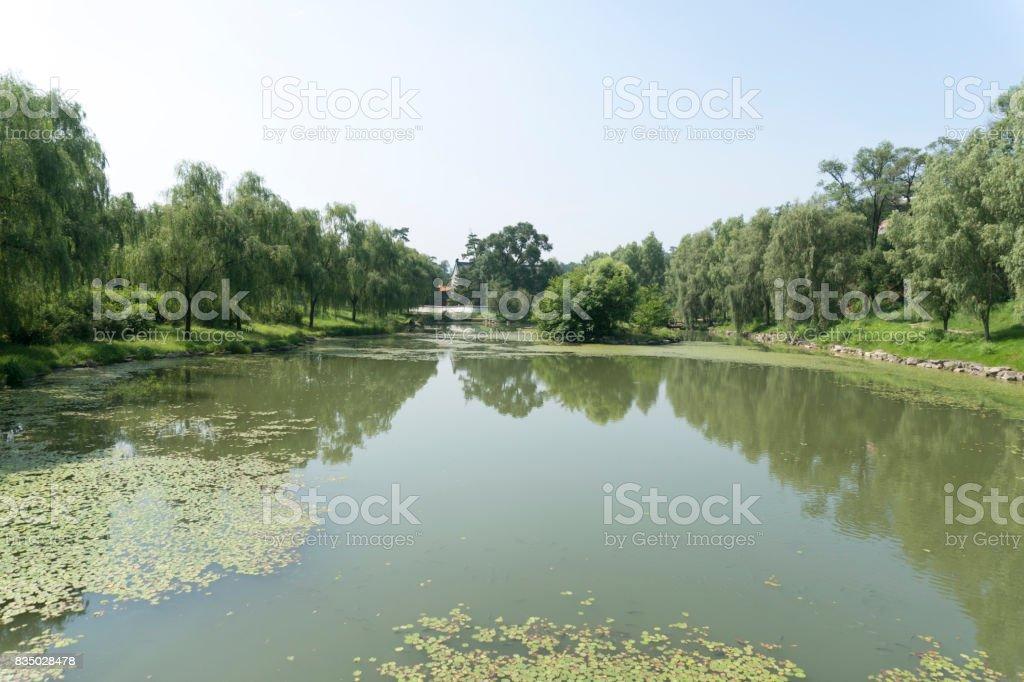Chinese garden landscape in chengde summer resort park stock photo