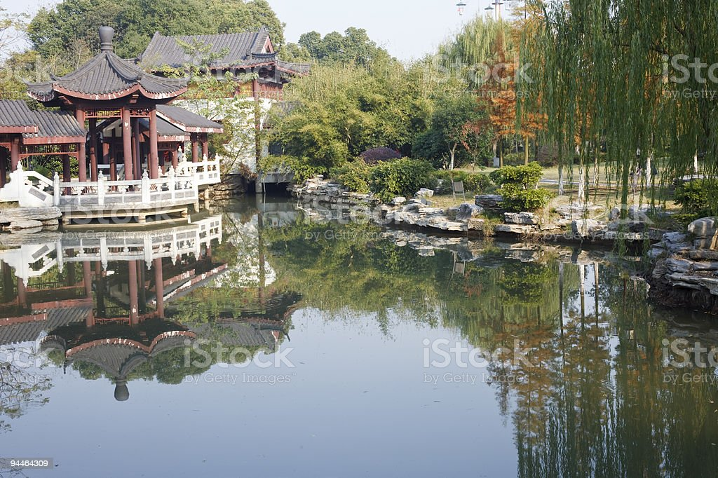 chinese garden stock photo